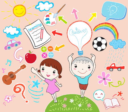 gente pensando: diseño de los niños que aprenden Vectores