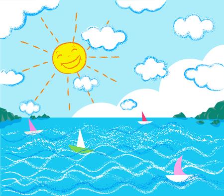 sea horizon: seascape chalk draw style Illustration