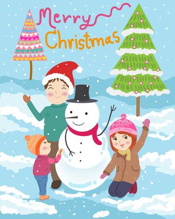 child smile: Happy family merry christmas illustration