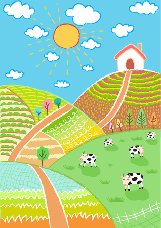 mountain view: countryside landscape illustration
