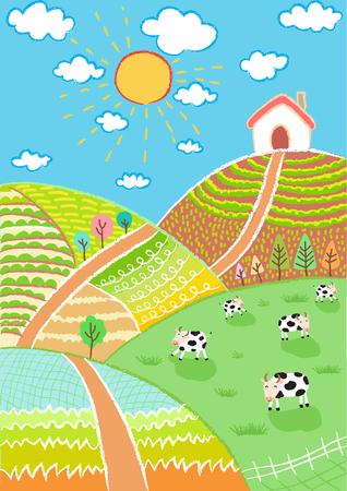 grass cartoon: countryside landscape illustration