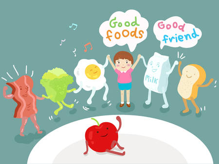 good: good foods and good friends illustration Illustration