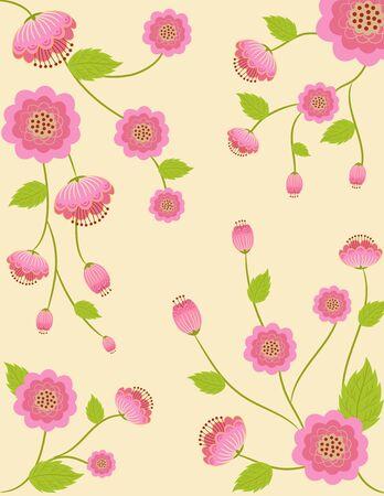 beautyful: beautyful pink flowers vintage style pattern background