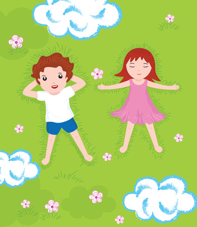laying little: boy  girl relax on a green meadow illustration
