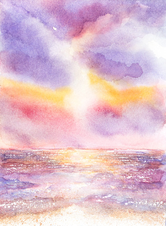beautiful seascape watercolor on paper