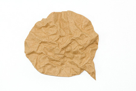 text bubble: brown paper bubble on white background Stock Photo