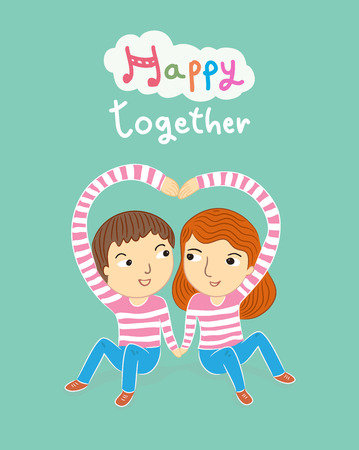 love symbols: happy together my sweetheart cartoon illustration