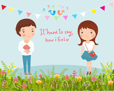enamorados caricatura: joven dando flores a la ni�a