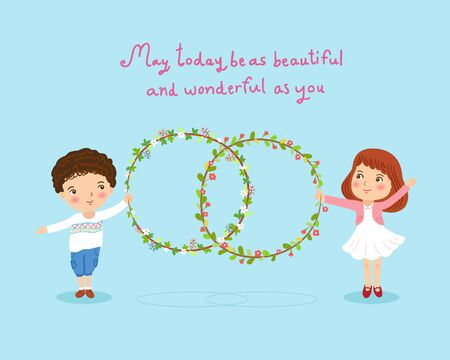 child couple: boy and girl with flowers wreath cute card illustration Illustration