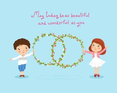ragazza innamorata: ragazzo e una ragazza con fiori corona carino illustrazione della carta