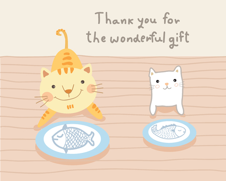 fish drawing: cat couple and wonderful gift illustration