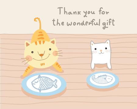cat couple and wonderful gift illustration Vektorové ilustrace