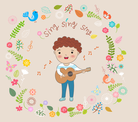 boy playing guitar: happy boy playing guitar and  sing a song vector illustration