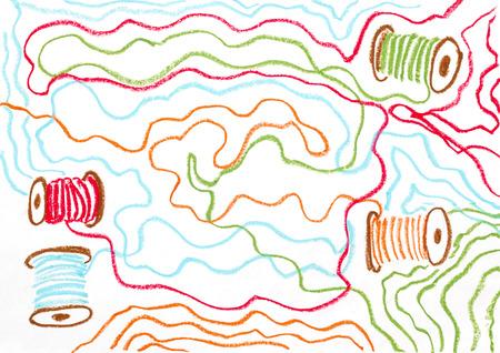 kleurrijke draad en spoel pastel op wit papier Stockfoto