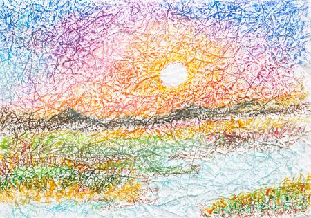 しわしわの紙にオイル パステルを日没の風景