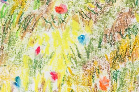 抽象的なカラフルな花フィールド オイル パステル塗装