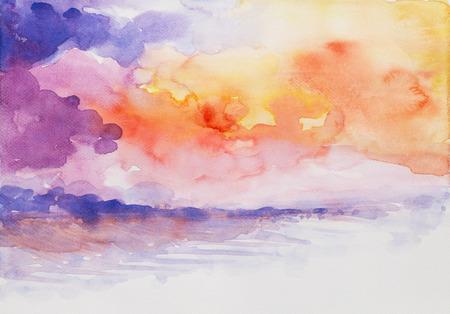 zonsondergangzeegezicht kleurrijke aquarel op papier Stockfoto