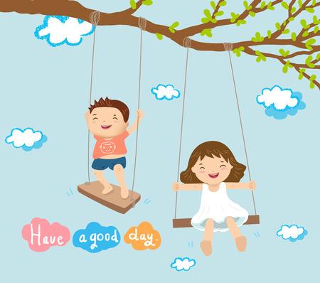 Chłopiec i dziewczynka bawi się na huśtawce i charakter koncepcji ilustracji