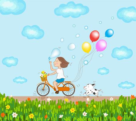 自転車と良い一日を走っている犬に乗る女の子