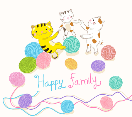 cat family playing yarn ball illustration