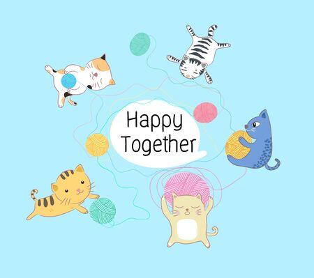 katten gelukkig samen illustratie Stock Illustratie