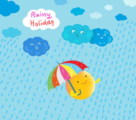 sun happy in rainy holiday illustration Illusztráció