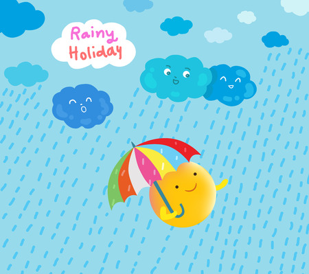 zon gelukkig in regenachtige vakantie illustratie Stock Illustratie