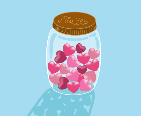 hearts in glass jar illustration
