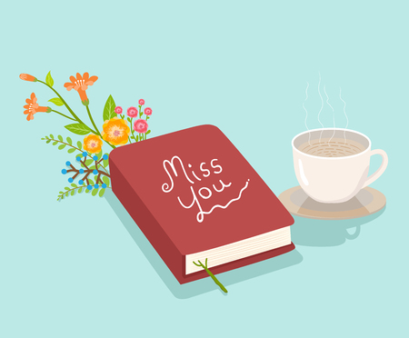 miss you book flowers and coffee illustration