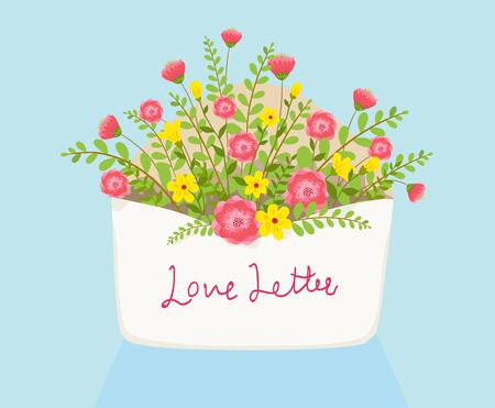 封筒イラスト上の花の中で愛の手紙を開く