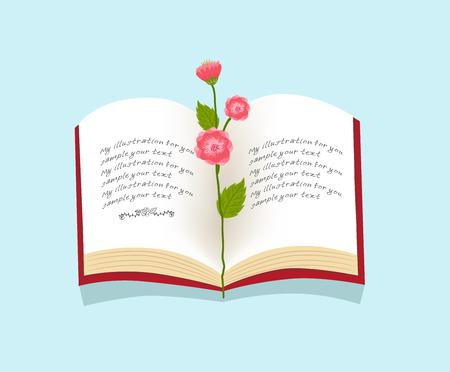 bloem op open boek illustratie Stock Illustratie