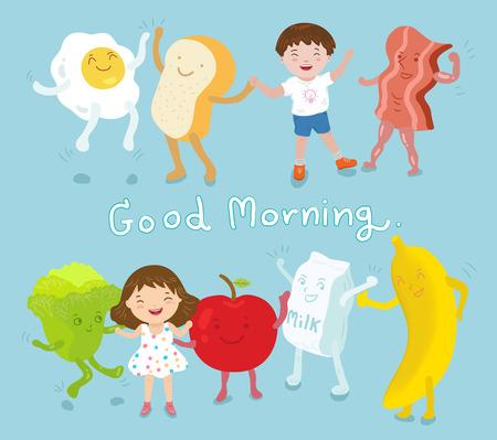 幸せな少年と朝食良い食品、野菜、果物、ベクトル図を持つ少女