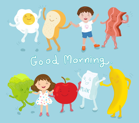 gelukkige jongen en meisje met ontbijt goed voedsel, groenten, fruit, vectorillustratie Stock Illustratie