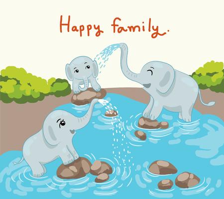 幸せな時間のベクトル図で象の家族