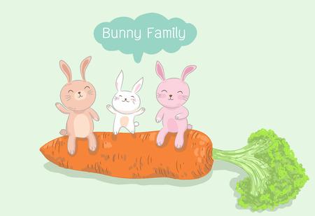 konijntje familie zittend op grote wortel, konijn vectorillustratie Stock Illustratie