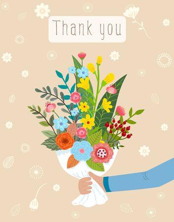 あなたは、美しい花の花束のベクトル図のためのギフト