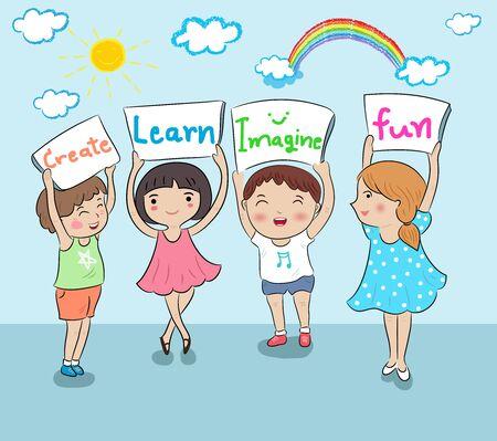 kinderen met kaart onderwijs vectorillustratie Stock Illustratie