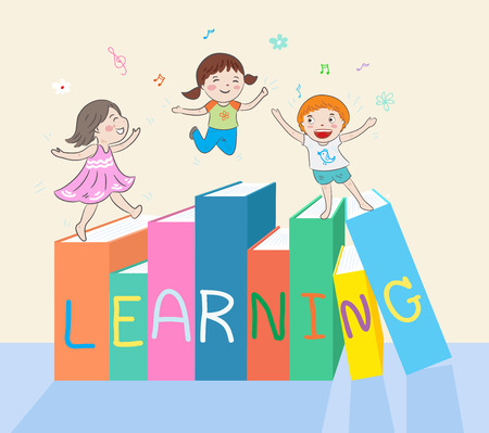 kids jumping on books vector illustration Ilustrace