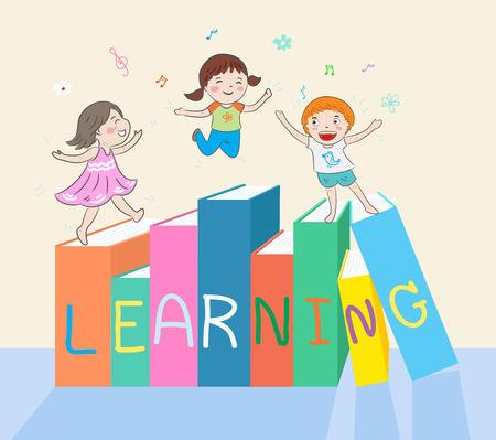 kinderen springen op boeken vector illustratie