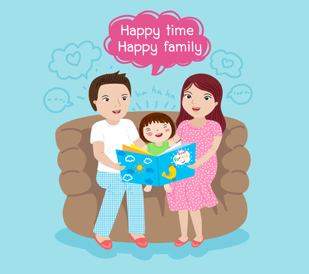 mom and dad storytelling vector illustration Ilustrace