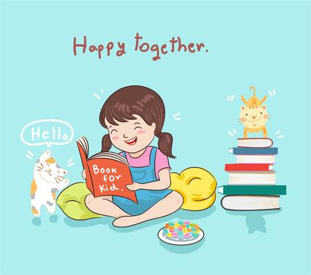 meisje het lezen van boek vectorillustratie Stock Illustratie