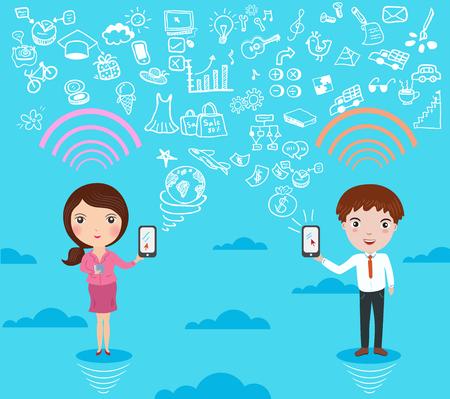 人々 の概念図のためのソーシャル ネットワーク  イラスト・ベクター素材