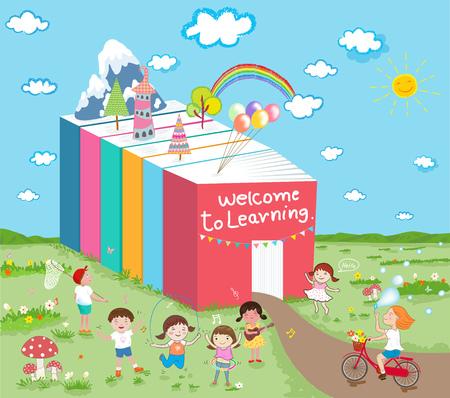 へようこそ学習の子どもたちが楽しい時を過す ' ベクトル概念イラスト