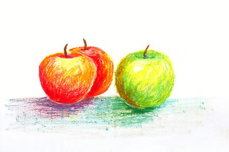 緑と赤のリンゴ オイル パステル画