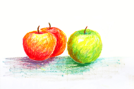 green and red apples oil pastel painting