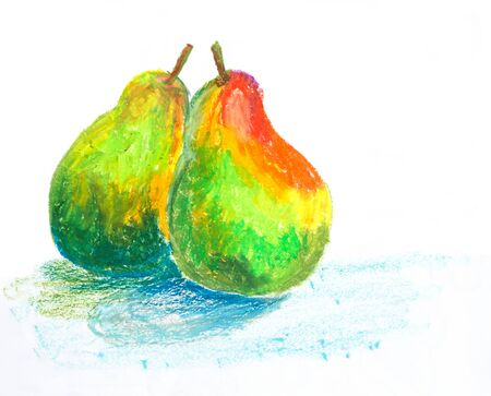 梨オイル パステル画 写真素材