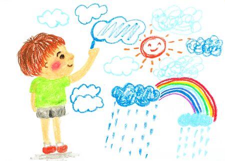 jongen tekening wolk zon en regenboog 'olie pastel illustratie Stockfoto