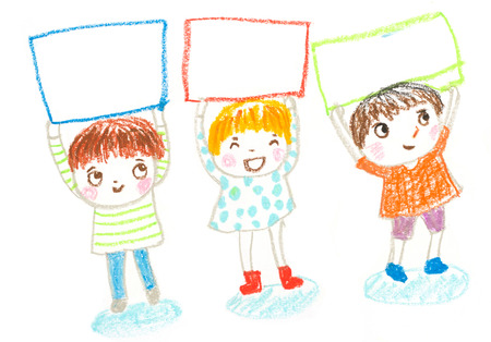 kids holding blank board , oil pastel drawing illustration