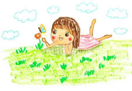 schattig meisje liggend op groen gras, olie pastel tekening illustratie Stockfoto