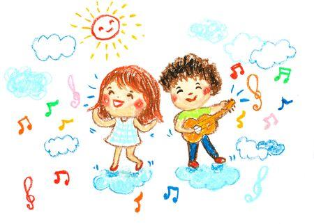 Jongen en meisje gelukkig in muziek, olie pastel tekening illustratie Stockfoto